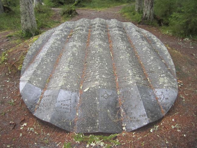 Minnesmonument med namnen på offren vid Falstadskogen
