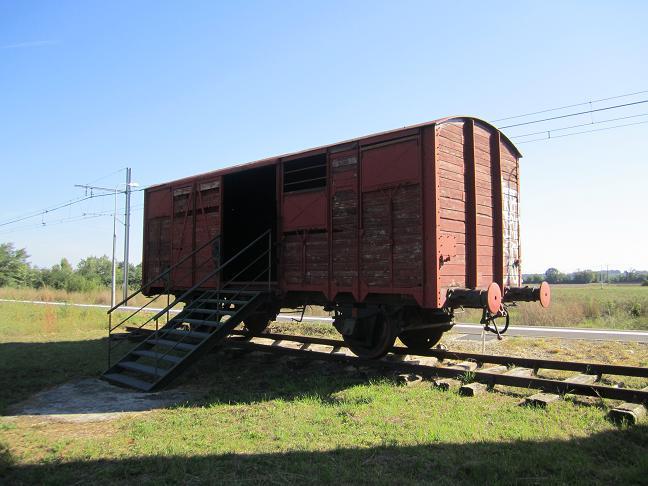 Godsvagn vid Le Vernet station som transporterade judar