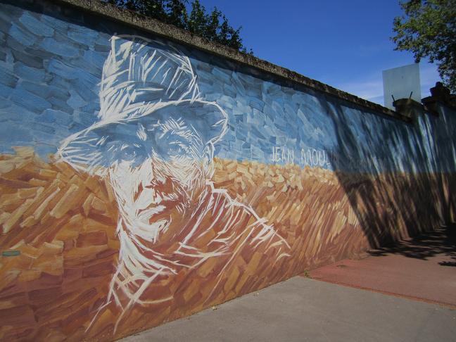 Murmålning föreställande Jean Moulin