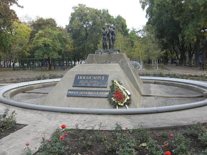 Minnesmonument på platsen varifrån Odessas judar deporterades till getton och läger