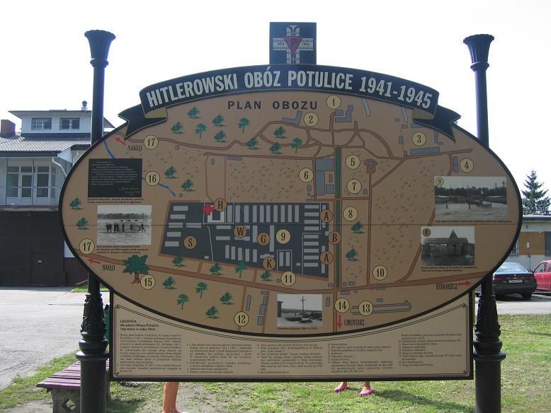 Informationstavla om lägret utanför det nuvarande fängelset
