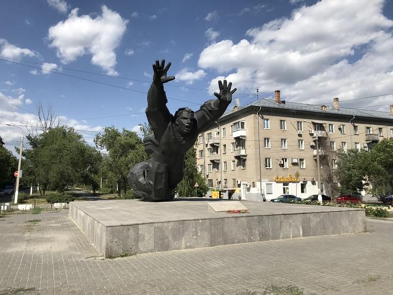 Monument tillägnat Sovjetunionens hjälte Mikhail Panikakha