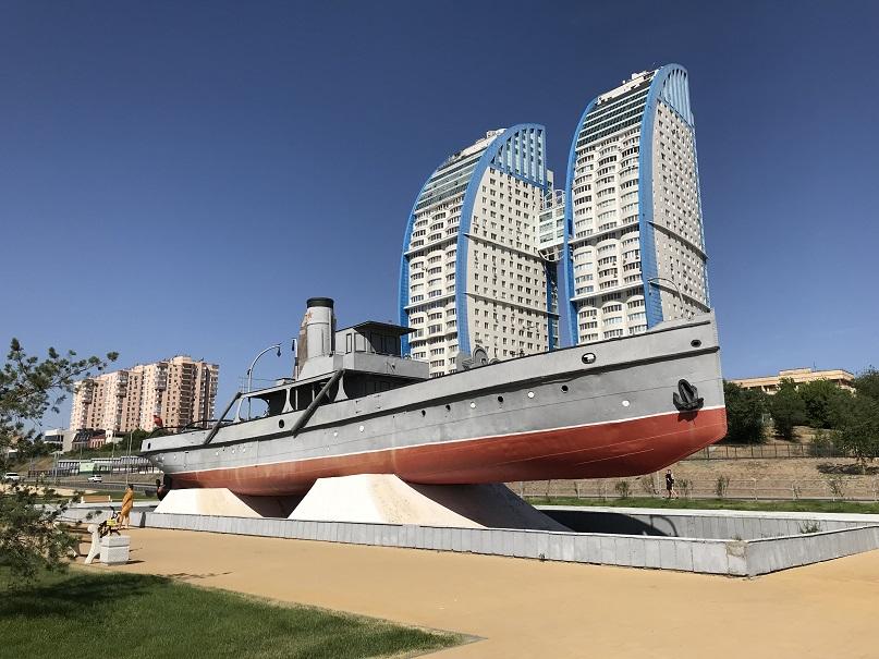 Steamship Gasitel vid Volgas strand