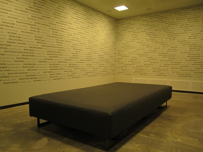 Minnesrum med namnen på norska judar som mördades av nazisterna