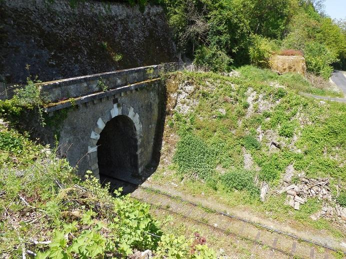 Tunnelns norra öppning med bunker upp till höger